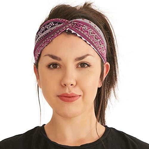 Diadema Turbante Verano Mujeres Boho - Diadema Mujer Yoga Ejercicios Ligeros Cómoda Cinta Cabeza Elástico Viaje Algodón Suave Moderna Violeta