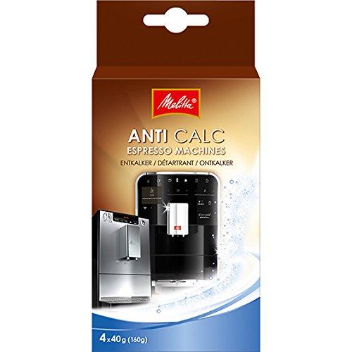 Melitta 209668 Entkalker Kaffeevollautomaten Anti Calc Espresso 4 Pulver Beutel, 40 g