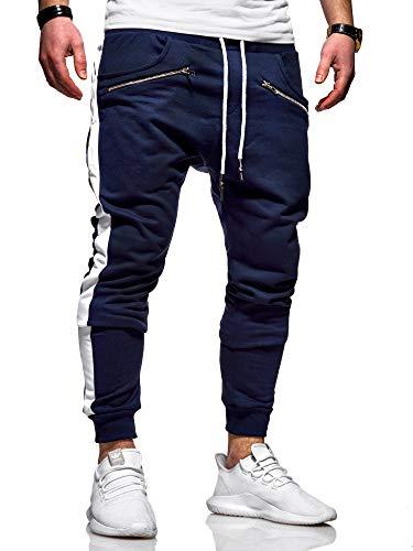 behype. Herren Lange Trainingshose Jogging-Hose Sport-Hose Zipper Side-Stripe 60-0361 Navy M
