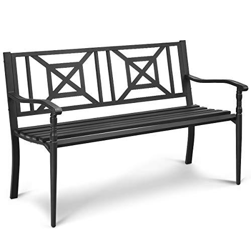 Giantex Patio Garden Bench, Heavy-Duty Park Bench w/Powder Coated Steel Frame, Elegant Loveseat w/Decorative Backrest & Ergonomic Armrest for Outdoor Garden, Backyard, Lawn, Porch, Path (Black)