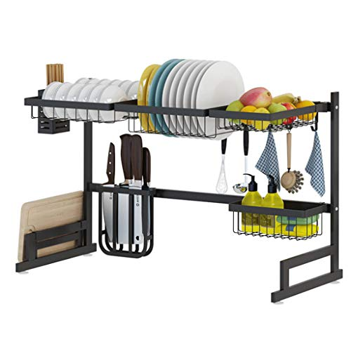 Black Stainless Steel Kitchen Drain Bowl Rack, Double Tableware, Dish Rack, Sink, Sink, Dish Rack, Dish Rack, Kitchenware Storage Rack Black 85cm