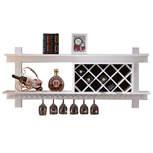 TTWUJIN Hylla vinställ, väggmonterad, bar, restaurang, vinflaskhållare, massivt trä skåp förvaringshållare naturligt furu vin verktyg vinglas, 80 cm