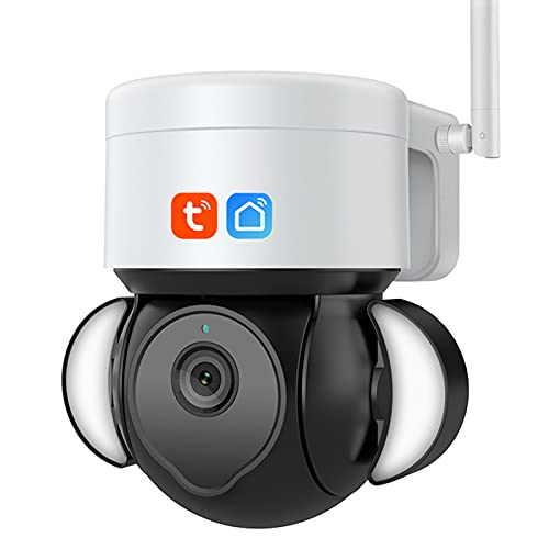 Cámara WiFi al aire libre, cámara IP inalámbrica 5MP PTZ, cámara de iluminación de inundación, cámara de seguridad de visión nocturna de color de seguimiento automático