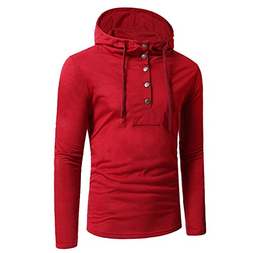 WLZQ Autumn and Winter Mens Long-Sleeved T-Shirt Mens Casual Hooded Slim Long-Sleeved T-Shirt European Code Lining Pure Color Simple Mens T-Shirt Red