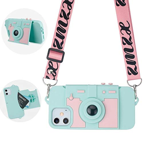 Compatible with iPhone 12 Mini Case Cute Card Wallet Holder for Women Girls Cool Camera Design Kickstand Girly Luxury Phone Case 3D Silicone Cover with Crossbody Strap Lanyard Blue
