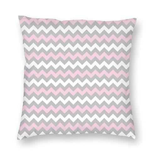 Meius Chevron - Funda de cojín con estampado de cheurón, rosa, gris y blanco, terciopelo suave, decorativa, cuadrada, funda de almohada para sala de estar, sofá o dormitorio con cremallera invisible de 20 x 20 pulgadas