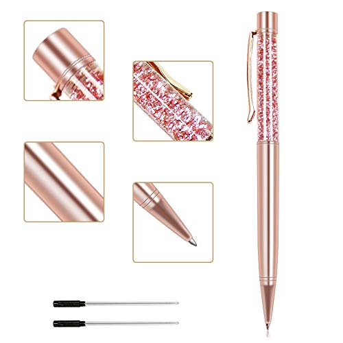 Ballpoint Pens, Jiulyning Rose Gold Metal Pen Floating Glitter Pens Bling Dynamic Liquid Sand Pen Black Ink for Office Supplies Gift Pens Wedding Decor Black Ink with 2 Replacement Refill