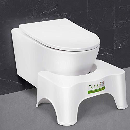 amzdeal Toilettenhocker, Tritthocker im Badezimmer, Von Ärzten empfohlene gesunde Haltung auf der Toilette, gegen Hämorrhoiden und Verstopfung | Polypropylen/Weiß (Größ: 46x33x21cm)