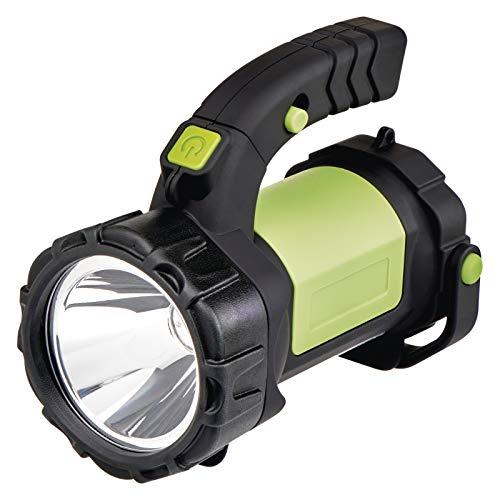EMOS Wiederaufladbarer LED Handscheinwerfer/Taschenlampe/Camping Laterne/Akkulampe/Arbeitsleuchte, 310 lm, 370 m Leuchtweite, inkl. Netzteil