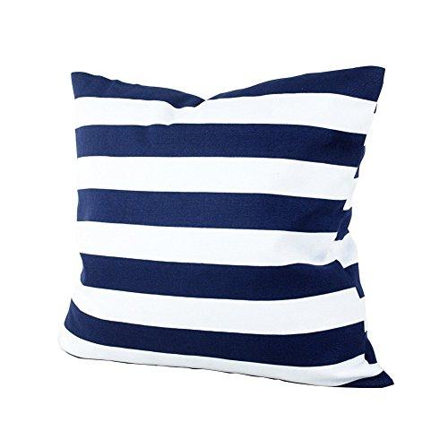 Fablcrew Kissenbezug mit blau-weißem Streifendruck, quadratischer Kissenbezug für Sofa, Bett, Auto
