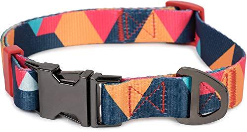 Puccybell Nylon Hundehalsband in geometrischem Design, klassisches Halsband für kleine, mittelgroße und große Hunde HB006 (L, Orange Bunt)