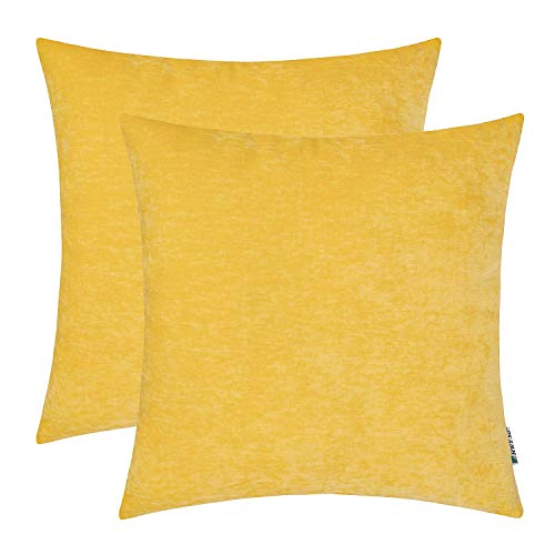 HWY 50 Bright Yellow Decorative Throw Pillows Covers Set, for Couch Sofa Living Room Bed 18 x 18 inch, Soft Comfortable Cashmere, Solid Decor Square Throw Pillow Case Cushion Cover, Pack of 2