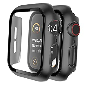 Tauri 2 Pack Hard Case for Apple Watch Series 3/2/1 38mm Built in 9H Tempered Glass Screen Protector, Slim Bumper, Touch… 4 417ziX75IYL. SS300