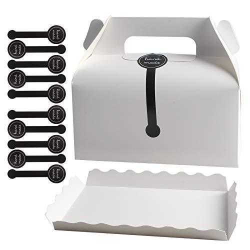 Tomedeks Scatolina in Carta da 10 Pezzi con Scomparto in Carta e Adesivo sigillante per Biscotti, Torte, pasticcini, Confezioni, scatole Regalo (Bianco) (Cartone Bianco)
