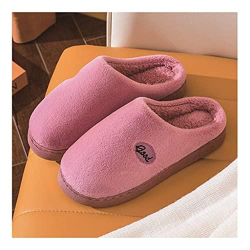 Zapatillas De Algodón Pareja Zapatillas De Felpa De Suela Gruesa Cómodas Zapatillas De Algodón Con Memoria Para Mujer Cálida Pareja Interior Zapatos Antideslizantes De Felpa De Suela Gruesa Para Exter