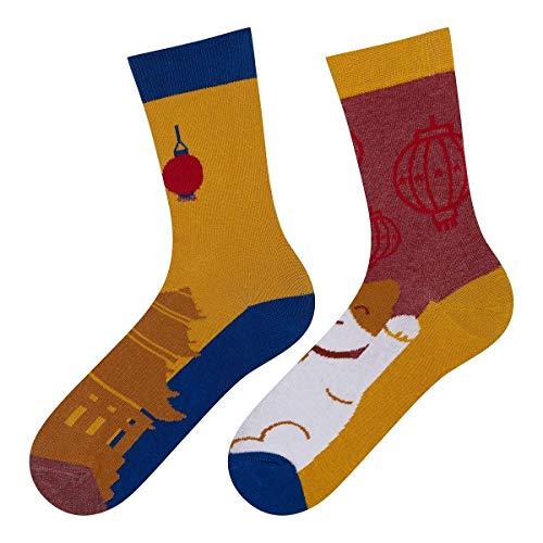 soxo Damen Bunte Muster Socken | Größe 35-40 | Motivsocken aus Baumwolle | Lustige Geschenk für Frauen (Chinesische Katze)