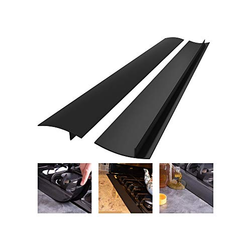 Silicone Stove Counter Gap Cover, Heat Resistant Kitchen Stove Counter Silicone Gap Filler Cover Seals Spills Between Counter Stovetop Oven Washer Dryer, 2 Pack (21 inch, Black)