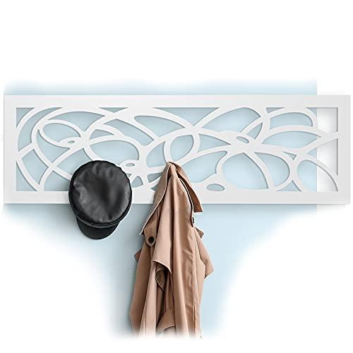 harvestcomfort Garderobenpaneel - Wanddeko [112cm*35cm] Zusätzlicher Platz im Flur - Wandgarderobe-Paneel aus Holz Weiß Matt | Ergänzen Sie noch Heute Ihre Garderobe-Möbeln im Flur