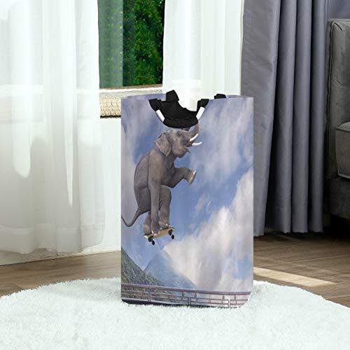 ZOANEN Wäschesack,Elefant Sport lustiges Tier verspielter Afrikaner mit Roller,der zum Himmel fliegt,Großer faltbarer Wäschekorb,zusammenklappbarer Wäschekorb,zusammenklappbarer Waschvorratsbehälter
