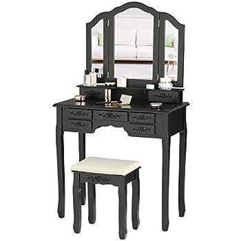 Tiptiper Makeup Vanity Table Vanity Set with Tri-Folding Mirror & Sturdy Stool Dressing Table with 8 Necklace Hooks & 7 Drawers Dresser Desk for Women Girls Black