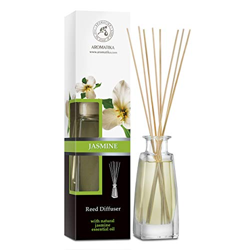 Jasmine Reed Diffuser w/Natural Essential Jasmine Oil 100ml - Fresh & Long Lasting Fragrance - Scented Reed Diffuser - 0% Alcohol - Gift Set w/ 8 Bamboo Sticks - Best for Aromatherapy - SPA - Home