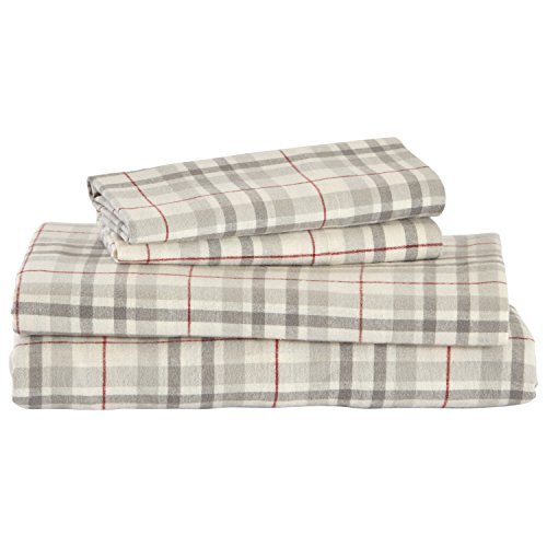 Amazon Brand – Stone & Beam Rustic Windowpane 100% Cotton Flannel Bed Sheet Set, Queen, Grey and Red