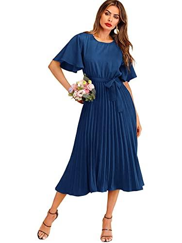 Milumia Women's Elegant Belted Pleated Flounce Sleeve Long Dress Royal Blue Medium