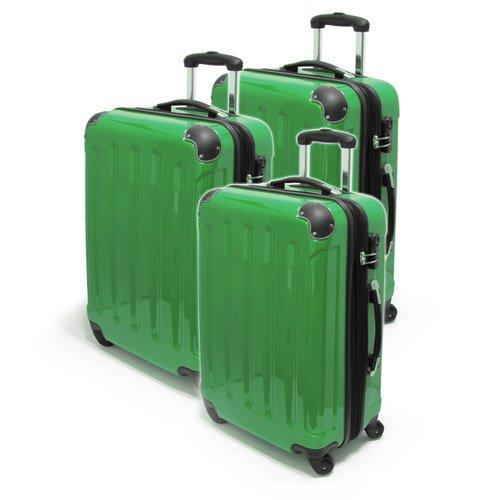 Hartschalen-Kofferset-Trolley, 3-TLG. 100% Polycarbonat - Koffer, Reisekoffer, Minzgrün