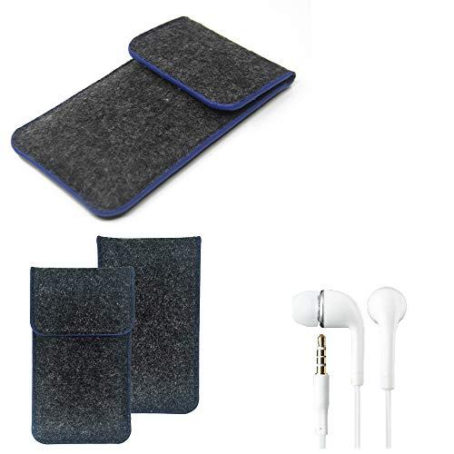 K-S-Trade Handy Schutz Hülle Kompatibel Mit Allview Soul X6 Xtreme Schutzhülle Handyhülle Filztasche Pouch Tasche Hülle Sleeve Filzhülle Dunkelgrau, Blauer Rand Rand + Kopfhörer