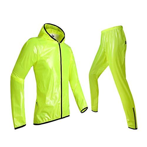 OLDJTK Radfahren Regenmantel Erwachsene Split Transparent Regen Mantel/Hosen Set Männer und Frauen ultradünne wasserdichte Regenmantel Anzug, fluoreszierend grün (Size : XXL)