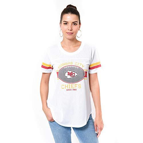 Ultra Game NFL Kansas City Chiefs Womenss Soft Mesh Jersey Varsity Tee Shirt, White, Large