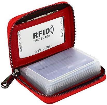 Lacheln RFID Blocking Credit Card Holder Genuine Leather Wallets for Men Women Money Case,20 Slots,Red