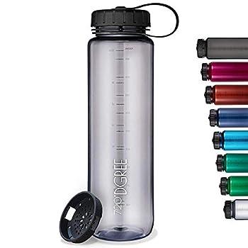 720°DGREE  simplBottle    Leakproof Water Bottle 1litre 1l 1000ml Gray   Sport Bottles - BPA Free - Tritan Plastic   Fruit Infuser Sieve   Perfect for Kids School Gym Bike Running Outdoor