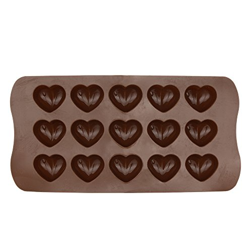Heart Shape Silicone Chocolat Moulds, Non-Stick Candy Cookies Molds Tray, Chocolate Ice Jelly Sweets Wax Melt Mould, DIY Making Kitchen Baking Mold, Food Grade Cake Topper Decoration Baking Tool (C)