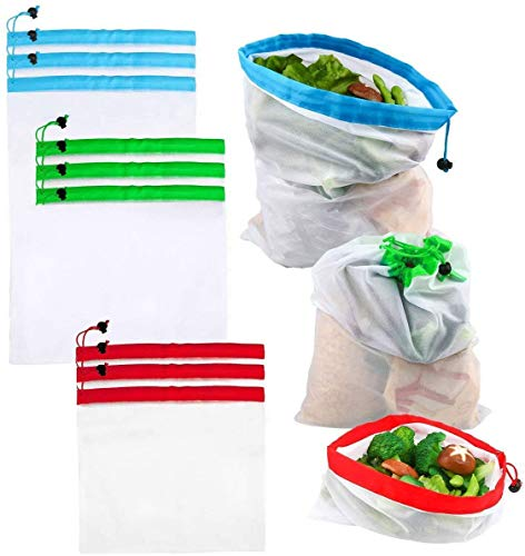 RAVCON 9 Set of Premium Reusable Mesh Produce Bags 3 Size Grocery Bags Lightweight Washable See Through Mesh Shopping Merchandise Bags with Drawstring 3 Large 3 Medium amp3 Small