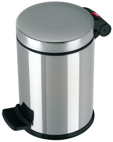Hailo ProfiLine Solid S Mülleimer (aus Edelstahl, 4 Liter, Kunststoff-Inneneimer, Anti-Rutsch-Fuß, edelstahl) 0704-060
