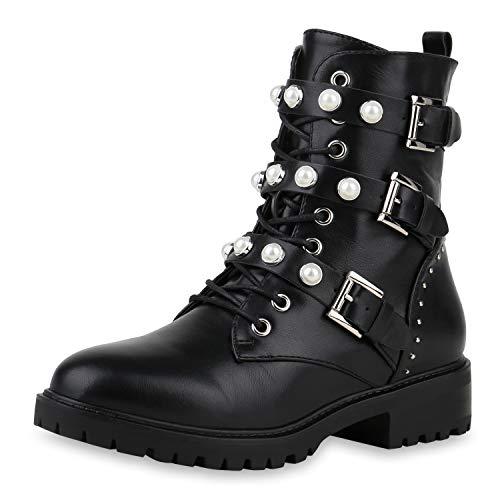 SCARPE VITA Damen Stiefeletten Schnürstiefeletten Leicht Gefütterte Schuhe Leder-Optik Stiefel Biker Boots Zierperlen 185070 Schwarz Weiss 37
