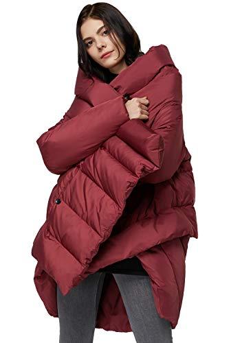 OROLAY Donna Piumino Invernale Caldo Cappotto Elegante Medio Lungo Rosso Taglia unica