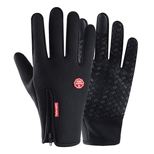 Qianliuk Bike Motorrad Handschuhe, Herbst Winter Fleece gefüttert Winddicht wasserdicht Touchscreen Vollfinger Motorrad Motocross Handschuh