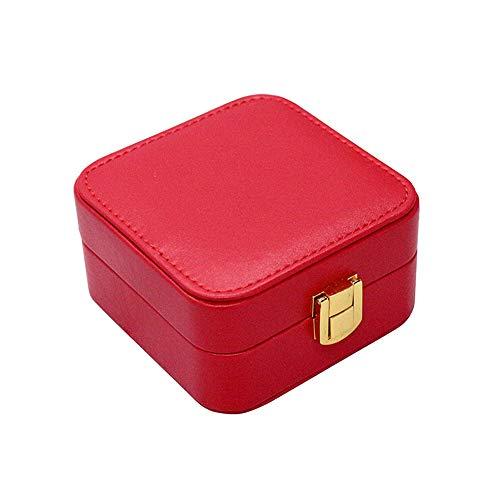 WJER Reiseschmuckbox, Doppelte Aufbewahrungsbox Für Schmuck, Umweltfreundliches PU-Leder Und Flockstoff, Aufbewahrungsmöglichkeit Für Ohrringe Und Andere Kleine Accessoires