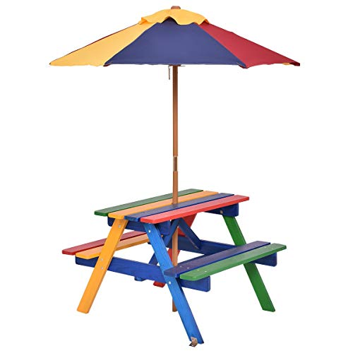 Costzon Kids Picnic Table Set Children Junior Rainbow Bench w/Umbrella (Multicolor)