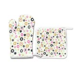 QHY Heat Resistant Oven Mitt and Pot Holder Set, BubbleWrap Kitchen Gloves with Cotton Lining for BBQ Cooking Set Baking Grilling Barbecue Microwave