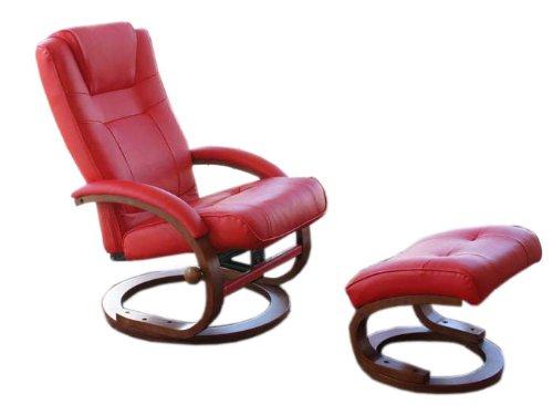 Mendler Fernsehsessel Relaxsessel Sessel Pescatori, Kunstleder, mit Hocker - rot