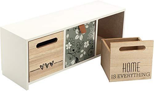 COM-FOUR® mini ladekast met 3 lades - Kleine Shabby decoratieve houten kast in vintage design met fronten in een hoogglans bloemige afwerking (01 stuk - 12,5x32,5x10cm)