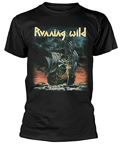 Running Wild Under Jolly Roger Album (Black) T Shirt New Men T-Shirt 100% Cotton Sleeve Shirt Black M