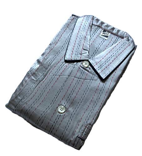 Trend by Normann Satin Herren Pyjama lang, durchgeknöpft mit Minimalprint in Übergröße - 9197, Größe2:60, Farbe:grau