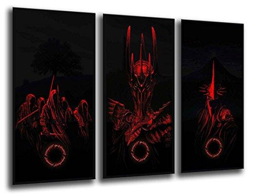 Scatola per stampe artistiche in legno con cornice, da appendere alla parete (dimensioni totali: 96,5 x 61 cm), il Signore degli Anelli, Sauron, incorniciata e pronta da appendere, rif. 26013
