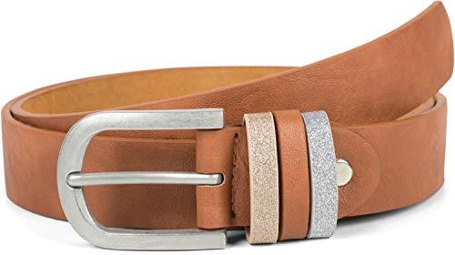 styleBREAKER Damen Gürtel Uni mit Glitzer Schlaufe, kürzbar 03010091, Farbe:Cognac, Größe:95cm