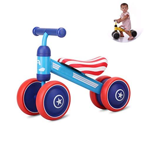 HKX Trike Bicicleta de Equilibrio para bebés, Andador para niños pequeños de 1 a 3 años sin Bicicleta de Pedales Triciclo para niños pequeños, Marco de Acero al Carbono Giratorio 135 °, Rojo