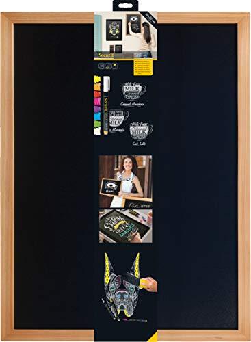 Securit Woody Tableau mural noir Cadre en teck 60 x 80 cm